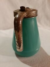 """New listing Vintage Syrup Dispenser Turquoise Green Frosted Glass and Metal Lid 5"""""""