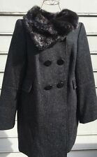 NWT French Connection Black Wool Faux Fur Collar Coat Sz 10