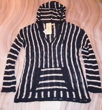 NEW!!  ELAN Long Sleeve Navy w/ White Striped Knit Hooded Sweater - Small