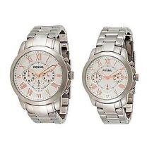 NWT Fossil Couple Watch His & Her Silver Bracelet GRANT BQ2180 BQ2180SET $265