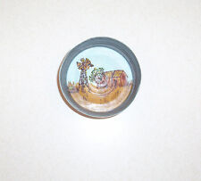 Windmill and Barn Painting in a Vintage Canning Jar Lid Wall Hanging