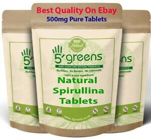 Spirulina 500mg Tablets Detox Cleanse Energy Immune Booster Weight loss Natural