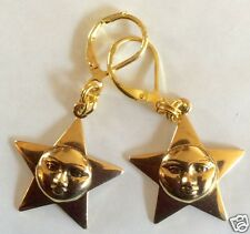 SMILING STAR RAW BRASS DETAILED HANDMADE EARRINGS FOR PIERCED EARS