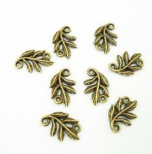 10pcs-Pendant Link Connector Leaf Antique Bronze Charm Double Sided.