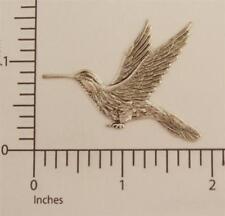 36284         Matte Silver Oxidized Victorian Hummingbird Brass Jewelry Stamping