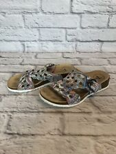 Think! Womens 37 / 6 - 6.5 Multi Color Leather Tropical Leaves Slide Sandals 4N1