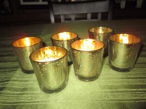 Mercury Glass  Silver Votive Candle Holders, Set of 6, New in Box