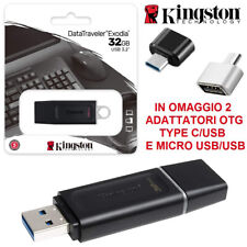 PENDRIVE KINGSTON 32 64 128 GB CHIAVETTA USB 3.2 MEMORIA EXODIA + OTG TYPE C