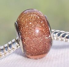Solid Brown Bronze Glitter Resin Bead for Silver European Style Charm Bracelets