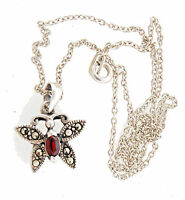 Sterling Silver Butterfly Garnet Pendant Necklace