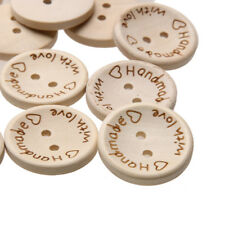 """""""HANDMADE WITH LOVE"""" Natural Wood Buttons -Qty 25-100. Button Sizes 15-25mm"""
