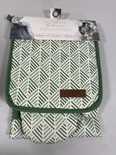 New listing New Eco One Ultimate Bakers Collection Apron Pot Holder Oven Mitt Green Pattern