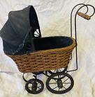 Vtg Victorian Pram Baby Doll Buggy/Stroller/Carriage Metal/Wood/Wicker
