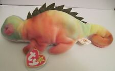 TY BEANIE BABY RAINBOW THE CHAMELEON WITH IGGY TAGS - TAG ERRORS - PVC PELLETS