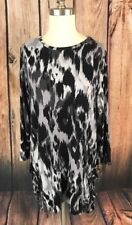 LOGO by Lori Goldstein Printed Tunic Top 3/4 Sleeve With Pockets Black Gray S