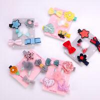 5Pcs/set Cute Hairpin Baby Girl Hair Clip Bow Flower Barrettes Star Kids Infant