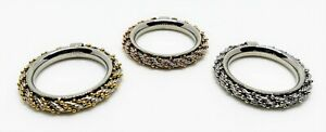 Set of 3 Michael Anthony Stainless Steel Silver Yellow Rose Stack Rings - Sz 8