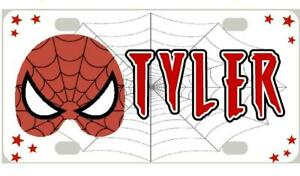 SPIDERMAN MINI LICENSE PLATE Any Name Personalized for Kids Bikes Wagons Wall