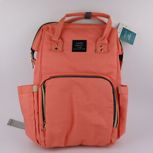 LAND Mommy & Baby Bag - Baby Changing & Diaper Travel Backpack (Peach/Orange)