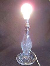 Superba ART DECO tagliare il vetro cristallo Lampada da tavolo c.1930's modificato, In-Line Interruttore ecc.