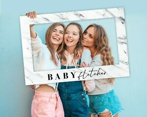 Marble Baby Shower Photo Booth Frame + Welcome Sign