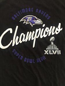 Baltimore Ravens Super Bowl XLVII Black T-Shirt Women Small Free Shipping