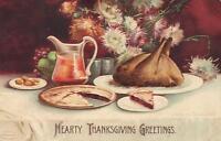 1909 VINTAGE EMBOSSED TURKEY PIE FLOWERS HEARTY THANKSGIVING GREETINGS POSTCARD