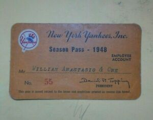"""1948 NY YANKEES ANNUAL SEASON PASS/ TICKET """"The Babe Bows Out"""" #3 Retired Jun.13"""