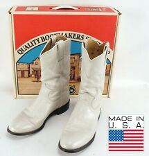 Womens Vintage Justin Roper Cowgirl Boots 9.5 B Pearl White Kiddie Leather Usa