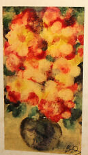 VINTAGE WATERCOLOR PAINTING IMPRESSIONIST STILL LIFE WITH FLOWERS SIGNED