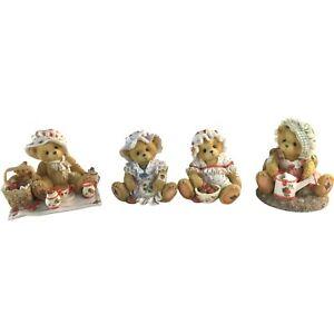 Enesco Cherished Teddies Lot Of 4 Figurines 1995 Strawberry Tea & Berry Special