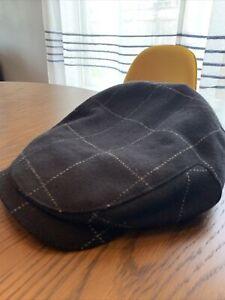 Wigens Black Cashmere Windowpane 90409 Newsboy Cap Large, 58