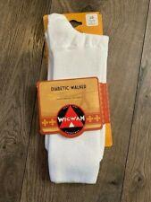 WIGWAM DIABETIC WALKER LIGHTWEIGHT CREW SOCKS WHITE F1221 LG