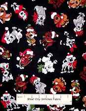 Doggie Holiday Loralie Harris Puppy Dog Christmas Santa Hat Cotton Fabric YARD