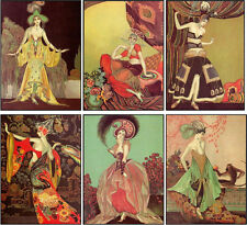Vintage inspired art deco fashion women cards set of 6 with envelopes