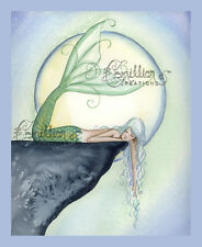 EXHAUSTED Moon Mermaid Sleep print from Original Painting By  Camille Grimshaw