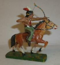 UNIDENTIFIED VINTAGE COMPOSITION WILD WEST MOUNTED INDIAN WITH BOW
