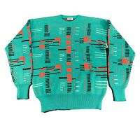 Mens XL VTG Meister Geometric Wool Blend Crewneck Ski Sweater Hot Pink Teal Neon
