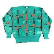 Mens XL Loud Sweater Vintage Geometric Wool Blend Crewneck Ski Pink Teal Neon