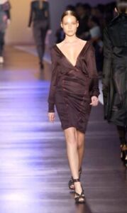 COSTUME NATIONAL Runway Ruby Dress  Long Sleeve Open Back Sz IT 44 USA 8