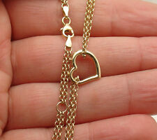 """10"""" ~11"""" Open Heart Anklet Ankle Bracelet Double Rolo Chain Real 10K Yellow Gold"""