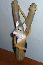 Wood Animal WOLF Sling Shot with an EXTRA RUBBER BAND
