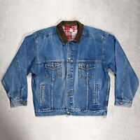 VINTAGE MARLBORO COUNTRY STORE DENIM JEAN JACKET WITH LEATHER COLLAR SIZE XL