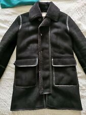 Pretty Green Shearling Parka coat jacket in black, size medium