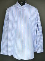 Polo Ralph Lauren Men's Size XL Blue Stripe Long Sleeve Button Down Shirt EC