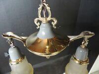 ANTIQUE / Art Deco 2 Shade Brass Lighting Fixture