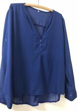 Royal Blue Long Sleeve Blouse With Button Feature XXL