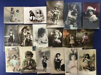 17 French Style Children Greetings Photos Antique Postcards. For Collectors NICE