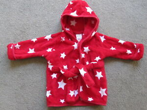 Baby Dressing Gown/Fleece Top Size 3-6months Red With White Stars With Hood Used