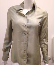 Authentic New CHANEL irisé vert sauge chemise en soie Taille UK 8